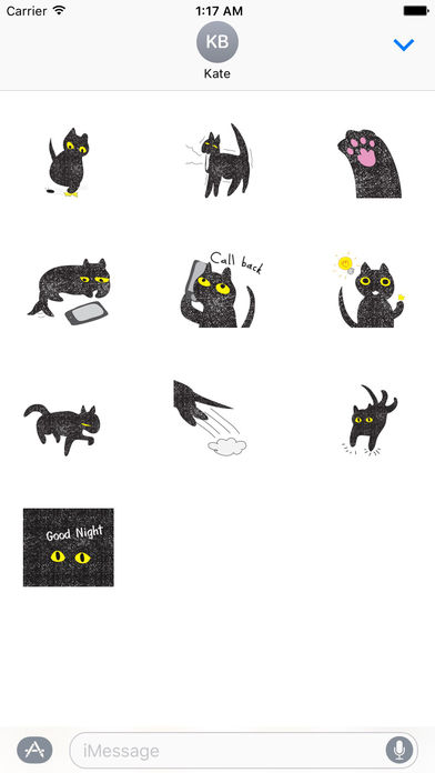 Twinkling Black Cat Sticker screenshot 3