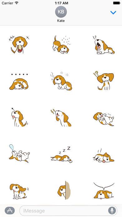 Cute and Smart Beagle Dog Sticker screenshot 2