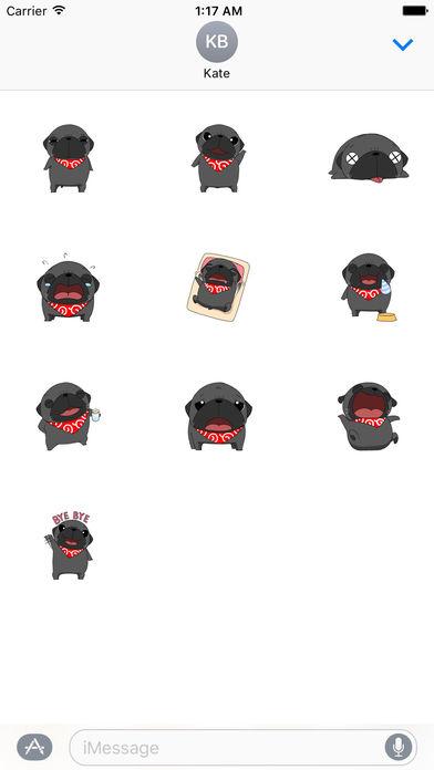 Cute Black Pug Dog Sticker screenshot 3