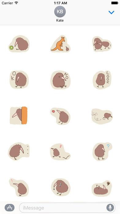 Cute Kiwi Bird I Love Sticker screenshot 1