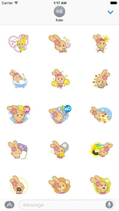 Cute Rabbit In Hawaii Sticker Packs screenshot 1