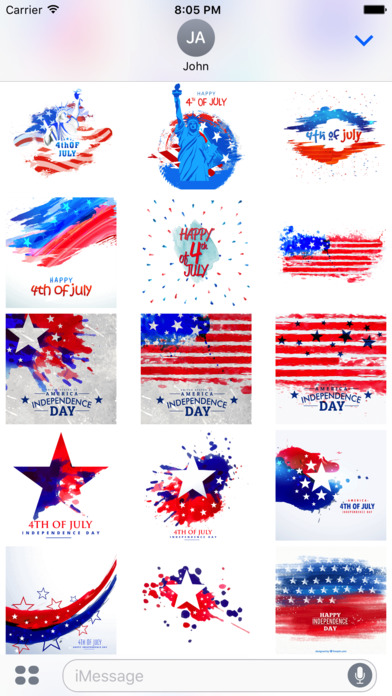 4th of July - Watercolor Independence Day Stickers screenshot 3