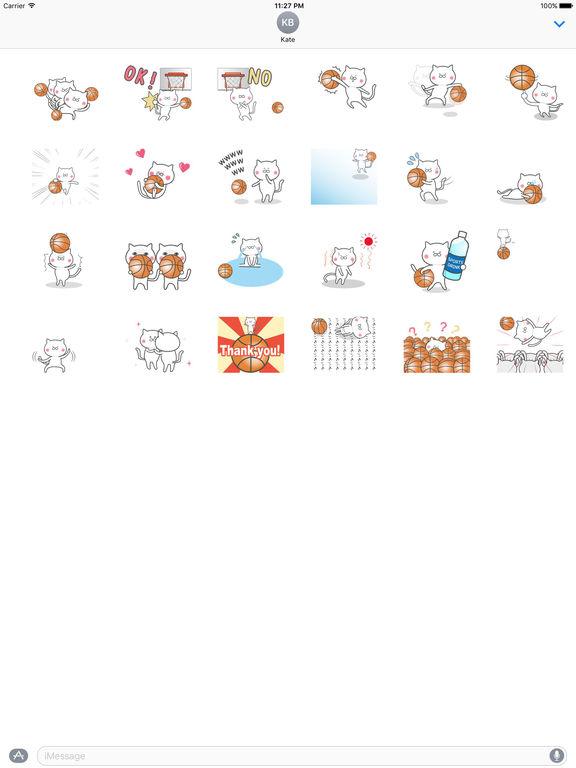 Animated Cat Plays Basketball Stickers screenshot 3