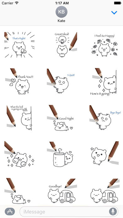 Animated Cute Pencil Bear With Words Sticker screenshot 2