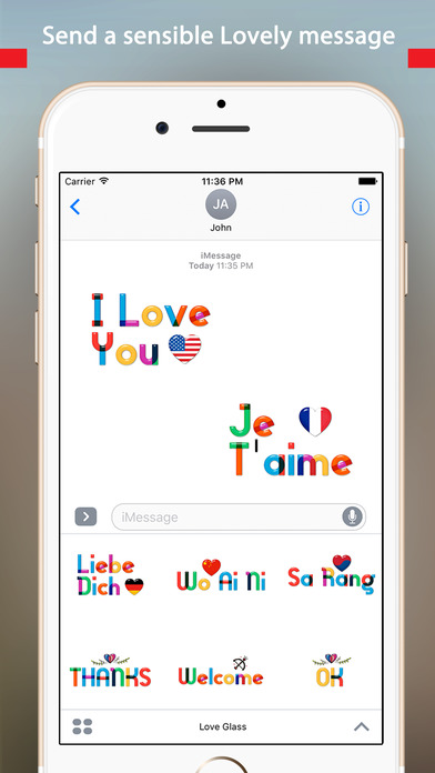 Lovely Colorful Glass Sensitive Word Stickers screenshot 3