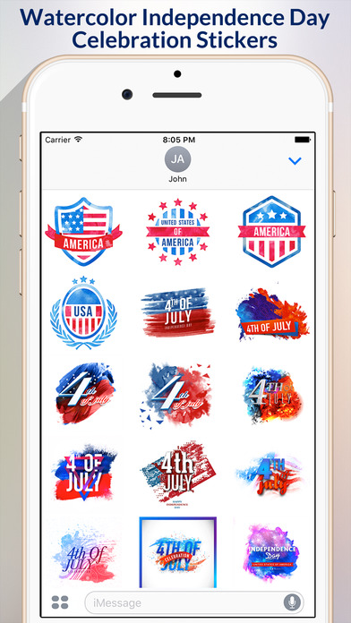 4th of July - Watercolor Independence Day Stickers screenshot 1