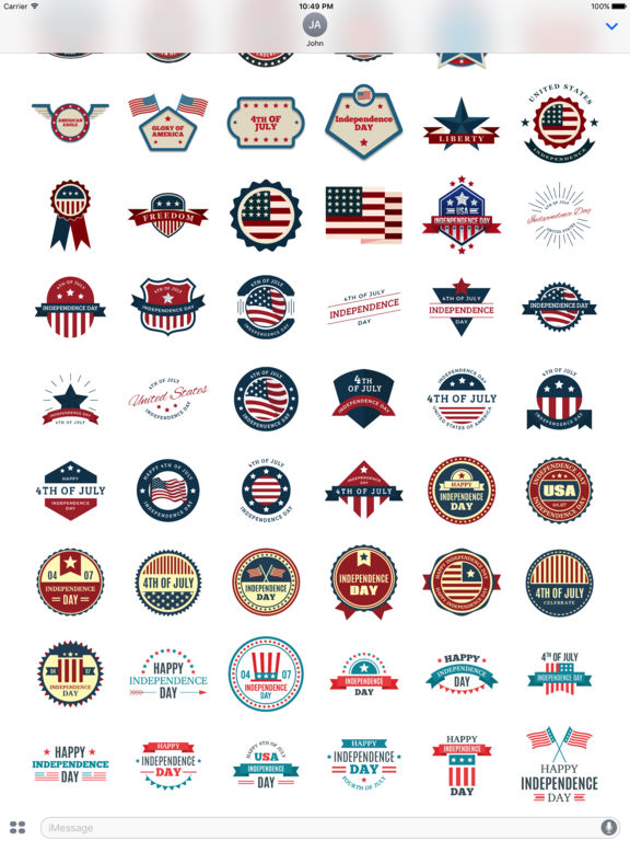 4th of July - 120+ Badge Independence Day Stickers screenshot 9