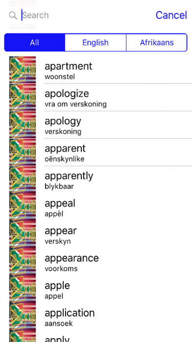 Afrikaans Dictionary GoldEdition screenshot 4