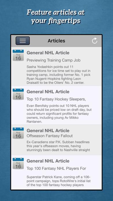RotoWire Fantasy Hockey Draft Kit 2017 screenshot 2