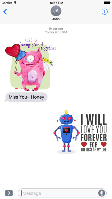 Love Quotes with Monster,Robot,Dinosaur Characters screenshot 4