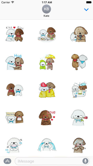 Love and Poodle Dogs Watercolor Sticker screenshot 1