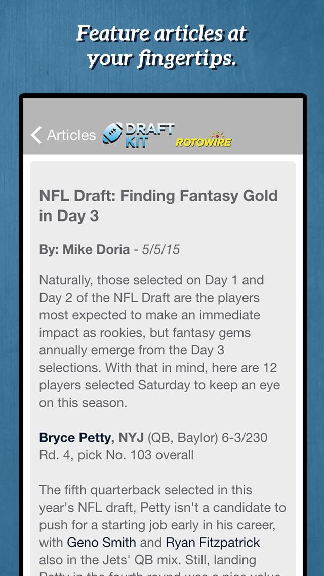 RotoWire Fantasy Football Draft Kit 2016 screenshot 4