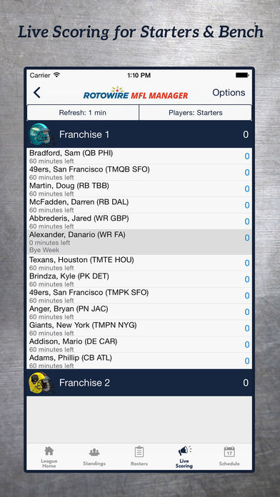 MyFantasyLeague Manager 2016 by RotoWire screenshot 2