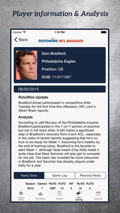 MyFantasyLeague Manager 2016 by RotoWire screenshot 4