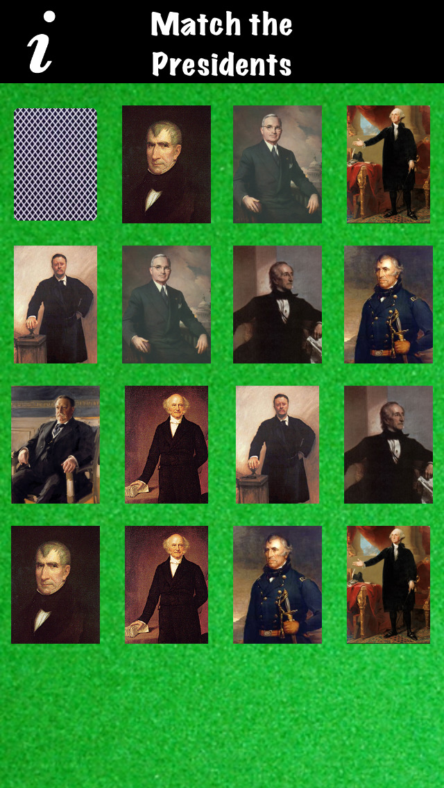 MATCH the PRESIDENTS - Concentration Memory Game with Portraits of each USA President screenshot 1