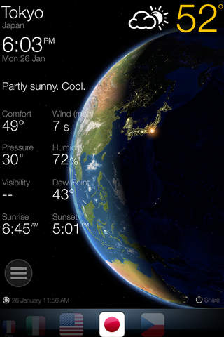 3D Earth ° weather widget world clock USA forecast - náhled