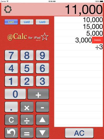 ACalc (Calculator with a list) - náhled
