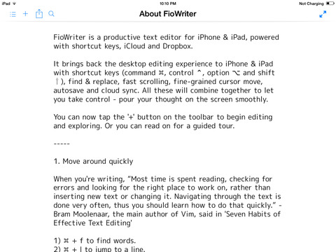 FioWriter - Productive text editor for iPhone & iPad with command keys and cloud sync screenshot 6