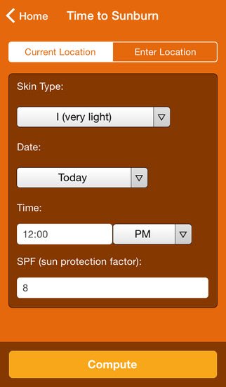 Wolfram Sun Exposure Reference App screenshot 2