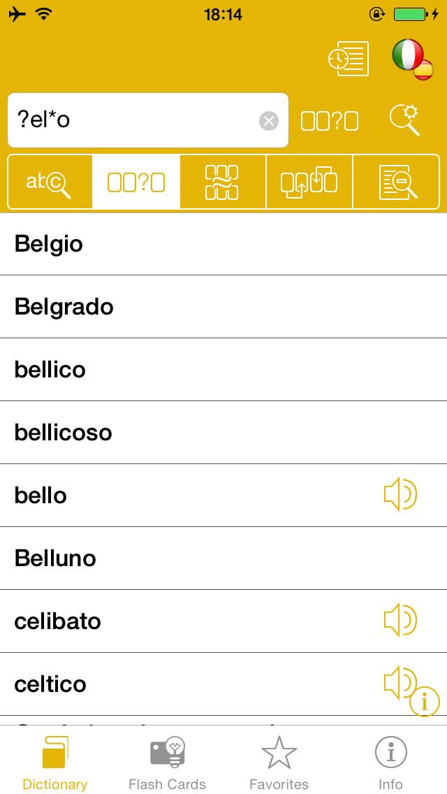 Spanish <-> Italian Talking Dictionary Global Mondadori Langenscheidt screenshot 2
