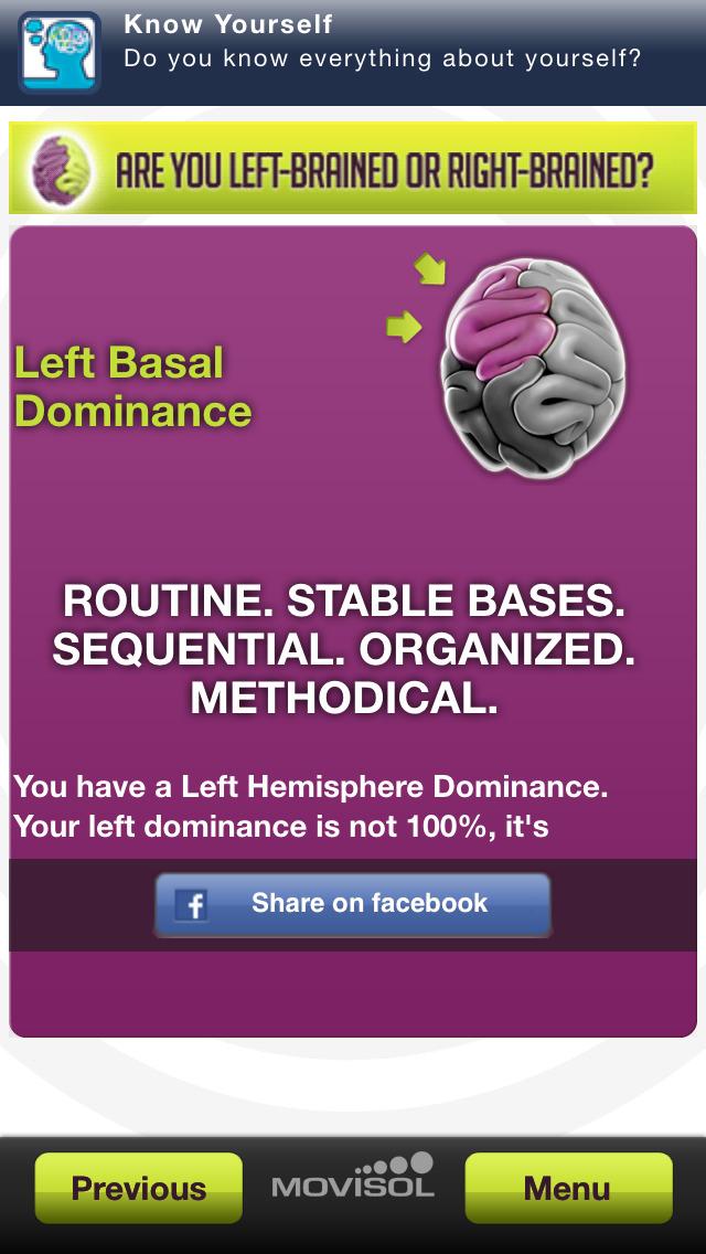 Cerebral hemispheres: how do you use your brain? screenshot #4