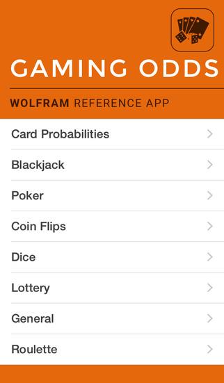 Wolfram Gaming Odds Reference App screenshot 1