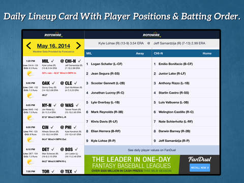 Daily Baseball Lineups screenshot 3