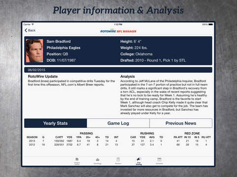MyFantasyLeague Manager 2015 by RotoWire screenshot 9