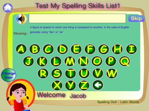 Spelling Doll English Words From Greek Vocabulary Quiz Grammar screenshot 6