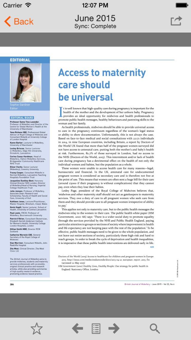 British Journal of Midwifery screenshot 3