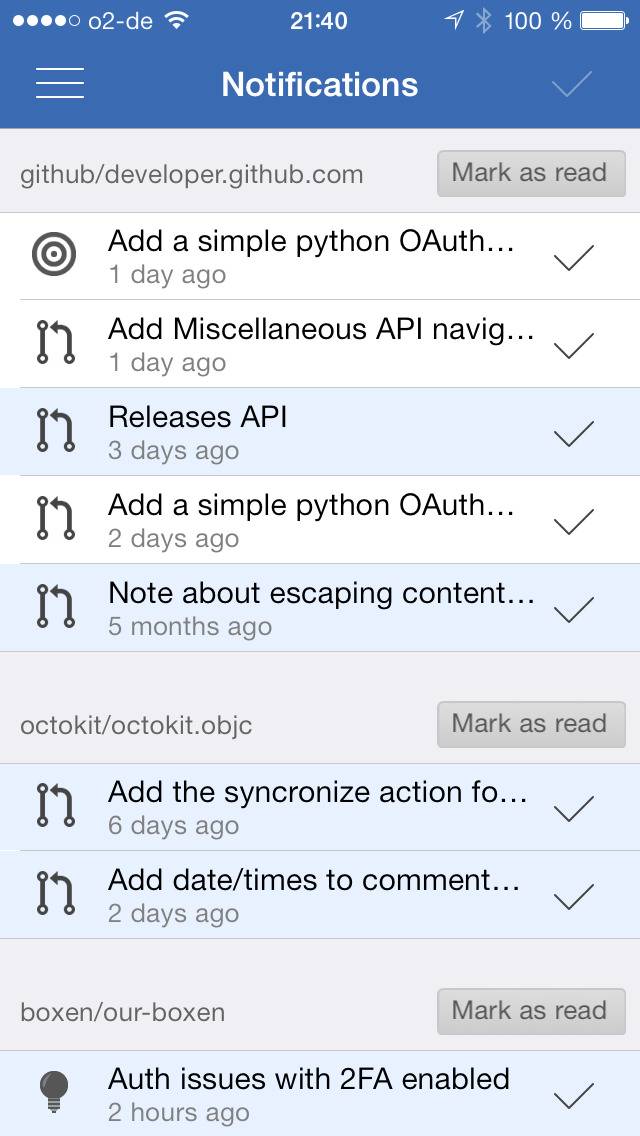 iOctocat - Mobile client for GitHub screenshot 2