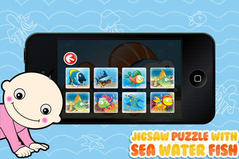 Jigsaw Puzzle With Sea Water Fish - Preschool Lear - náhled