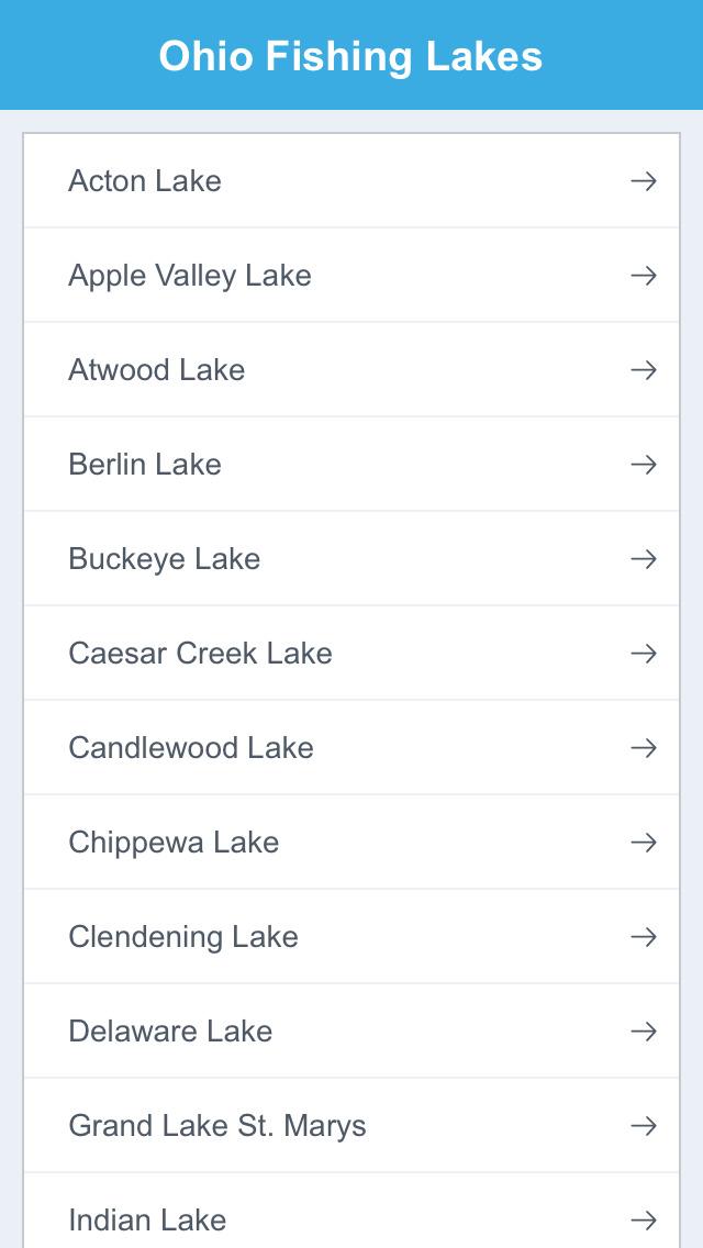 Ohio Fishing Lakes screenshot 2