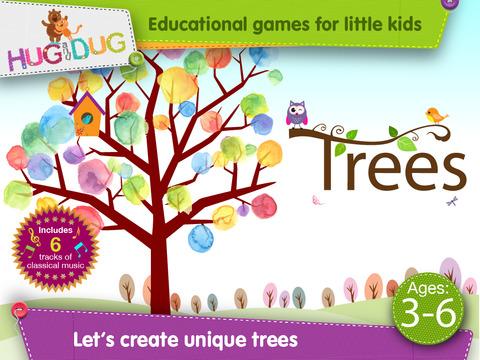 HugDug Trees - Kids make trees & forests with amazing stickers art screenshot 1