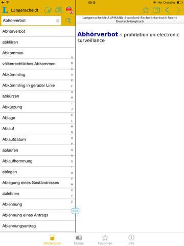 Recht Englisch<->Deutsch Fachwörterbuch Standard screenshot 9