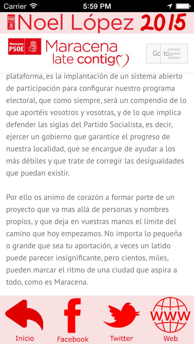 Noel2015 - Noel López - candidatura del Partido Socialista a la alcaldía de Maracena (Granada, España) screenshot 2