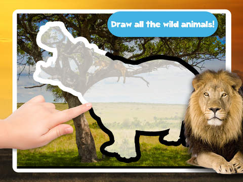 Kids Puzzle Teach me Tracing & Counting with Wild Animals Photo: Draw your own giraffe, zebra, hippo and lion and learn all about the safari screenshot 7