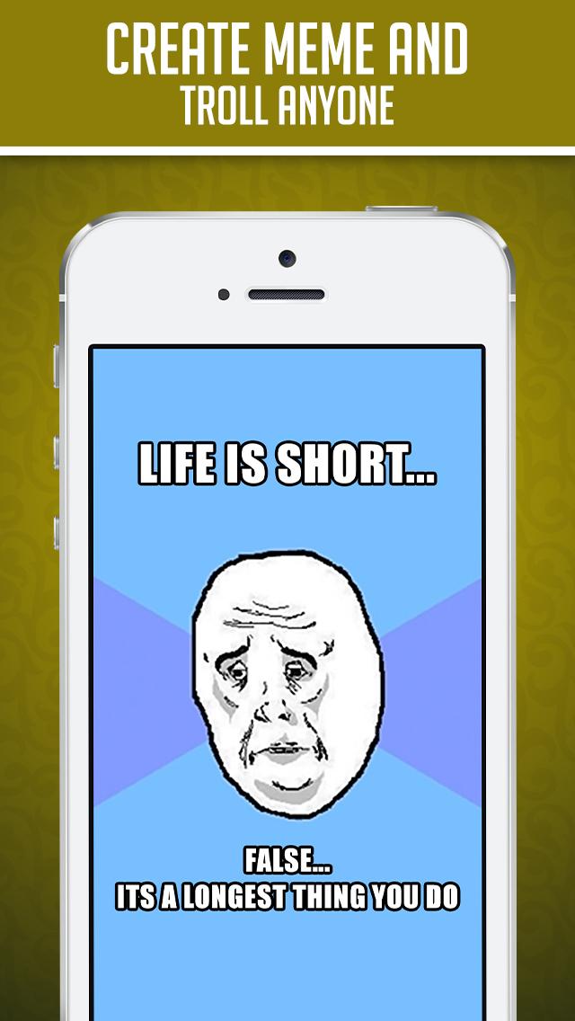 Funny Insta Meme Generator - Make Custom Memes with LOL pics,Troll Wallpapers & GIF Photos screenshot 2