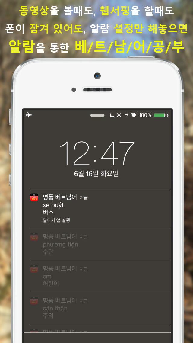 [알람] 명품 베트남어 단어장 screenshot 3