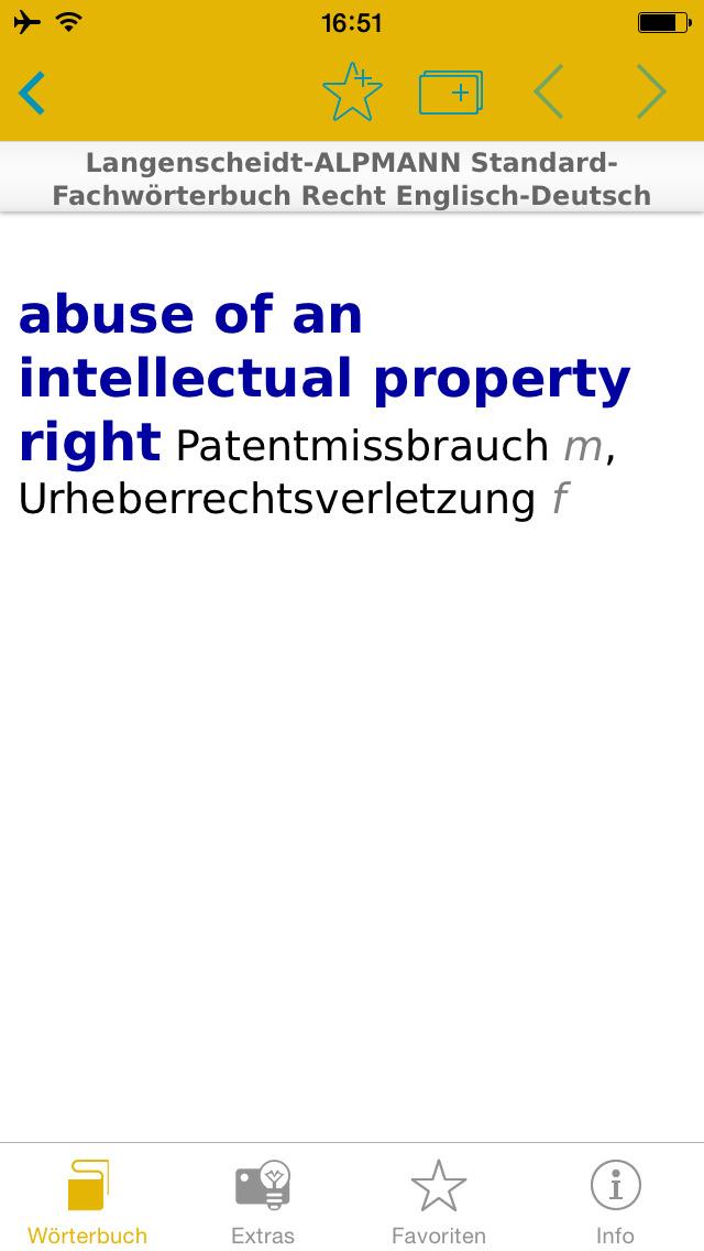 Recht Englisch<->Deutsch Fachwörterbuch Standard screenshot 1