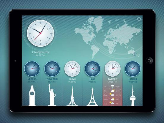 World Clock 2 for colorful clock, world map, time screenshot 6